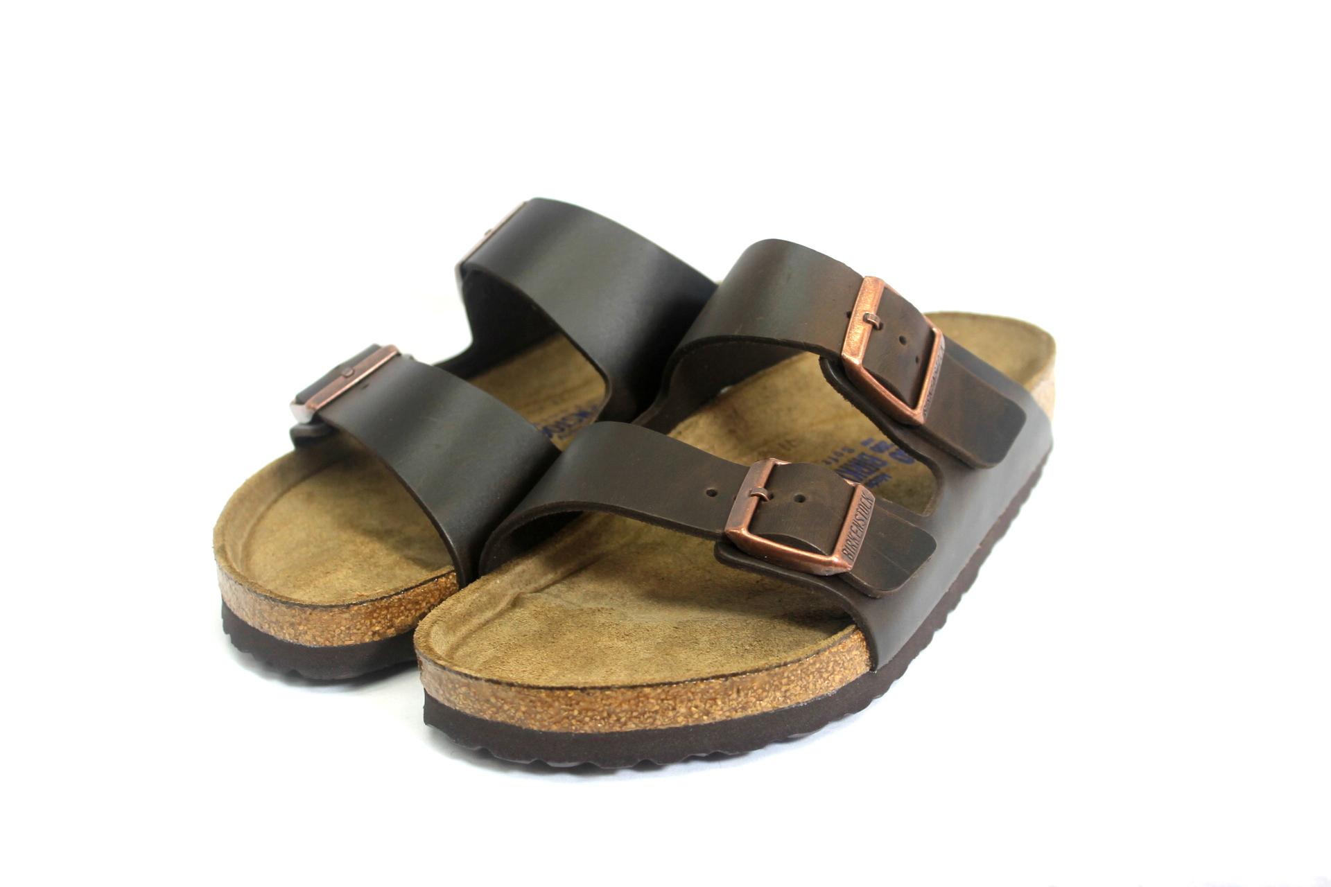 birkenstock soft footbed brown amalfi leather arizona | in motion