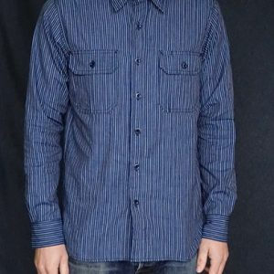 tellason-japanese-indigo-striped-selvedge-clampdown-shirt-model-front-back