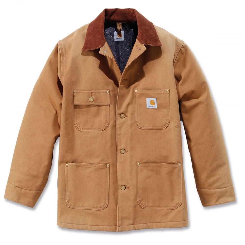 508cea604301 Carhartt Duck Chore Coat Blanket Lined Brown